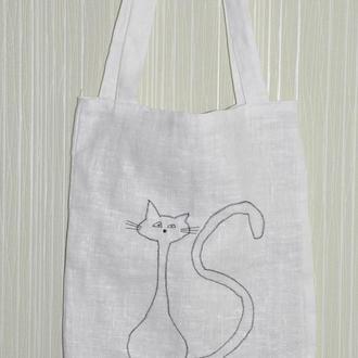 Сумка с кошкой, экосумка с котиком, шоппер с котом, сумка с кошечкой