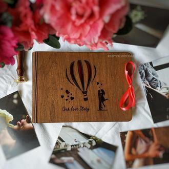 Фотоальбом из дерева - подарок на свадьбу, годовщину | подарок на годовщину женщине, мужчине