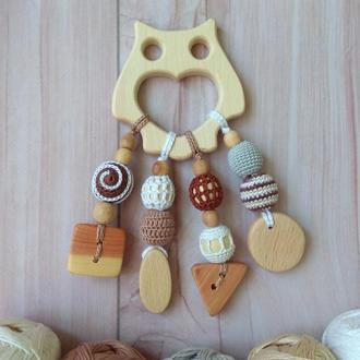 Грызунок Сова, прорезыватель, деревянная игрушка