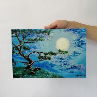 Картина маслом полнолуние, Интерьерная синяя картина в спальню, Красивый пейзаж, Ночное небо