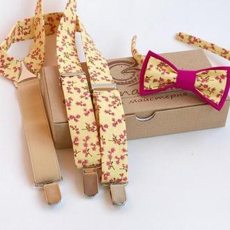 Комплект подтяжки и Бабочка на ободке для девочки