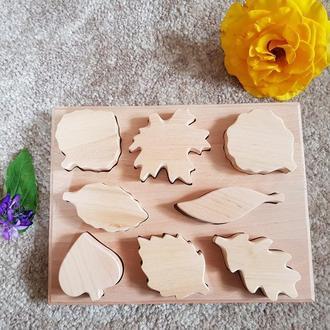 Дерев'яний сортер Розвиваюча іграшка Листя Листочки Іграшка для складання
