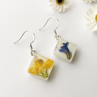 Сине-желтые серебряные серьги