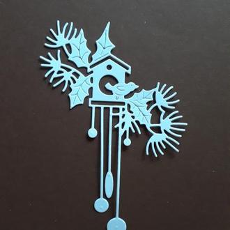 Вырубка для скрапбукинга Новогодние часы, декор для скрапбукинга