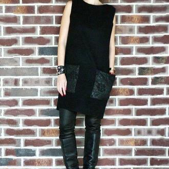 Платье черное из пальтовой ткани от N.Verich