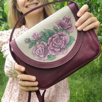 Кожаная бордовая сумка кроссбоди женская с росписью розы