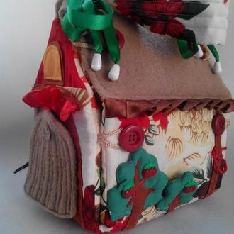 Текстильный кукольный домик-сумка)