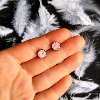 Мінімалістичні круглі ніжні сережки 8 мм. Маленькие круглые нежные сережки (много цветов в наличии)