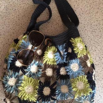 Летняя пляжная сумка с удлиненными ручками