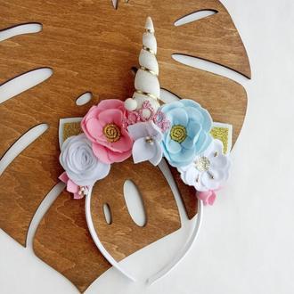 Обруч единорог с цветами ободок единорога единорожка единоріг