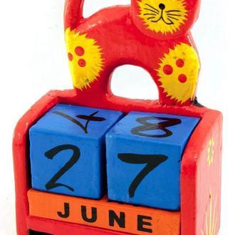 Календарь настольный дерево Кот