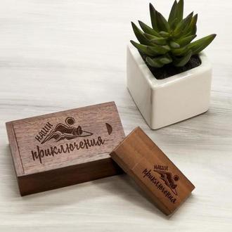 Подарочная деревянная флешка с гравировкой в коробке, 16-32 Гб
