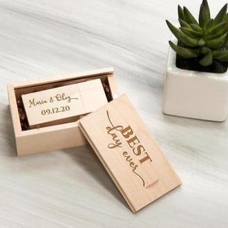 Деревянная флешка с именной гравировкой в подарочной коробке, 16-32 Гб
