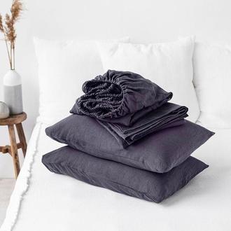 Крафтовое постельное белье из 100% льна Graphite