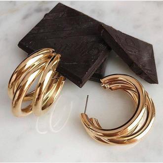 Серьги золотистые кольца тройные