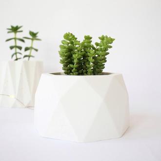 Бетонный белый горшок/кашпо из бетона для суккулентов, кактусов. Горшочек из бетона для растений