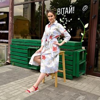 РАСПРОДАЖА коллекции 2020! Легкое летнее льняное платье с цветочным принтом