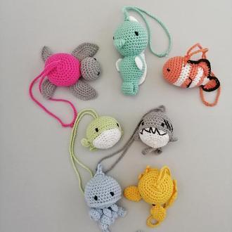 Подвески морских животных. Детский вязаный крючком набор для мобиля.