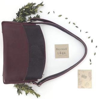 """Женская сумка из натуральной кожи """"Можжевельник"""" (бордо)"""