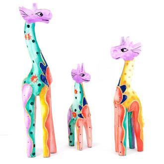 Статуэтки Жирафы дерево 3 шт
