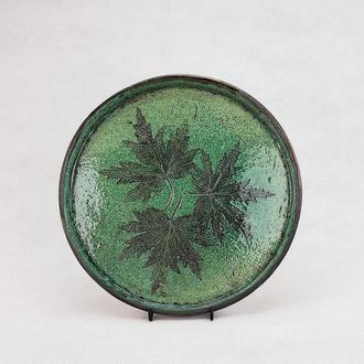 Зелений сервірувальний керамічний піднос ручної роботи , 27 см,арт.№20