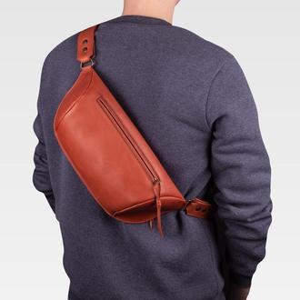Мужская сумка через плечо из кожи