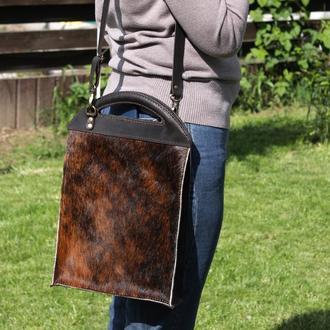 Повсякденна шкіряна жіноча сумка, Сумка зі шкіри корови і шкіри