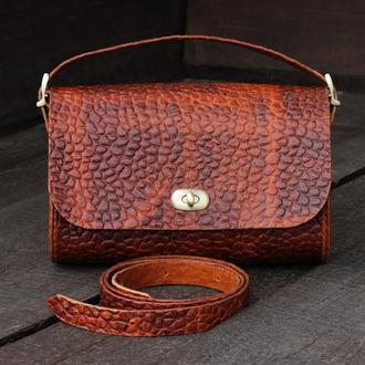 Кожаная классическая женская сумка – багет, Кожаная сумка на плечо