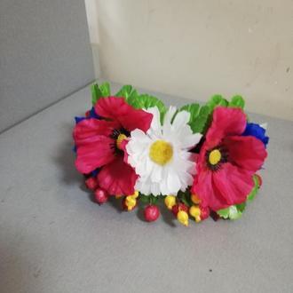 Украинский венок-обруч из красивых искусственных цветов