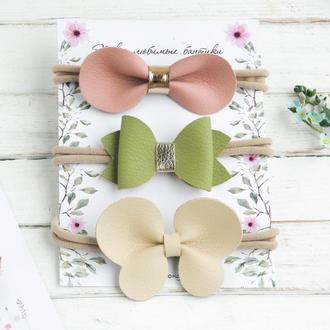 Повязки с бантиками для малышки в подарок / Детские кожаные бантики / Подарунок дівчинці