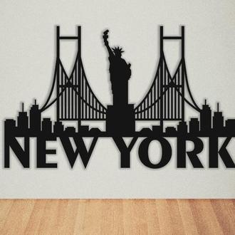 """Картина деревянная/панно """"Нью-Йорк"""""""