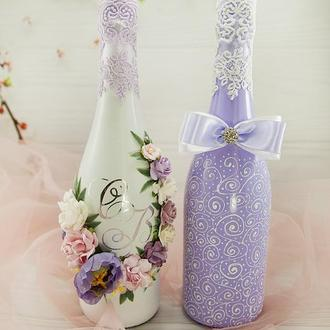 Свадебное шампанское лавандвое / Оформление шампанского / Весільне шампаське фіолетове