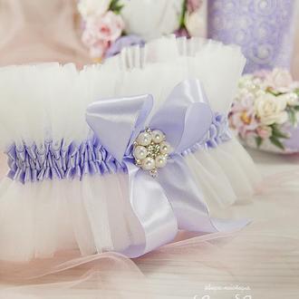 Подвязка невесты лавандовая / Біла підв'язка для нареченої / Белоснежная подвязка