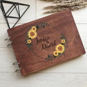Свадебный деревянный альбом для фото с подсолнухами