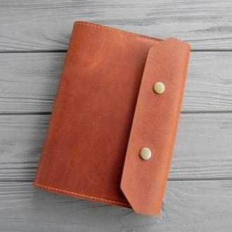 Кожаная обложка для блокнота А5_именная обложка для ежедневника А5 из винтажной кожи