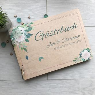 Свадебный альбом из дерева с цветной печатью