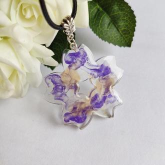 Кулон-цветок по мотивам муранского стекла