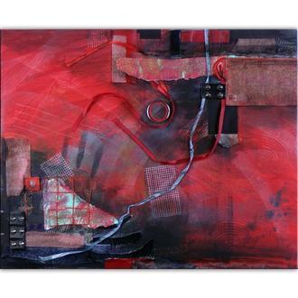 Молния. Абстрактное панно, картина абстракция красная из различных элементов 40 х 50 см