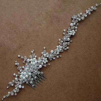 Свадебное украшение для волос, веточка в прическу, нежно украшение в прическу, заколка в прическу