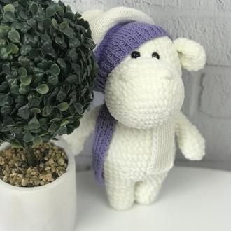 Детская вязаная игрушка  «Белый бегемотик»