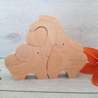 Дерев'яні слоники з сердечком Іграшка Серце Подарунок Сувенір
