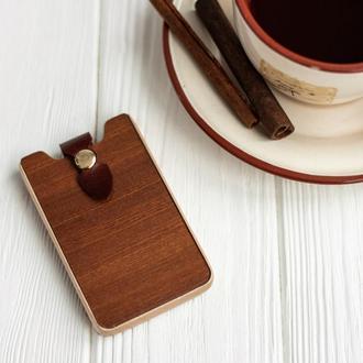 Подарочная стильная деревянная визитница