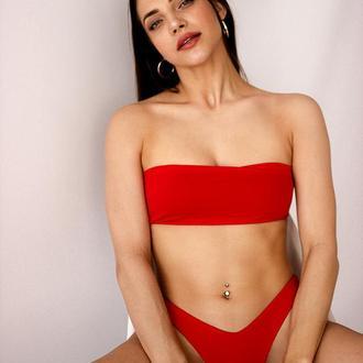 Червоний жіночий купальник - Бандо 2020, червоний купальник роздільний