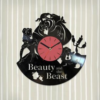 Виниловые часы Красавица и Чудовище