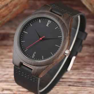 """Стильные именные деревянные часы с гравировкой """"Shadow"""""""