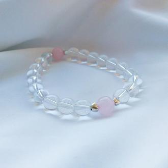 Прозрачный браслет с розовым кварцем