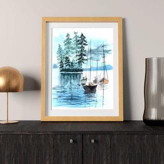 Акварельная иллюстрация рыбацких лодок