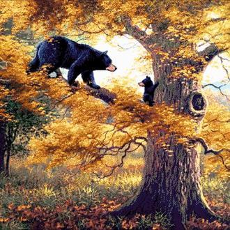"""Набор для вышивки бисером """"Медведи на дереве"""""""