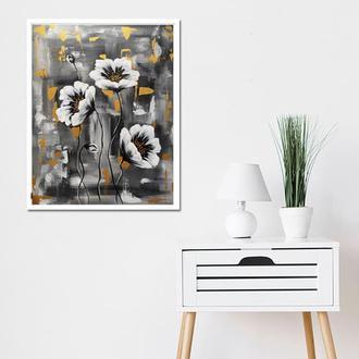 """Интерьерная картина """"Маки"""" 40х50 см, Современная живопись, акрил"""