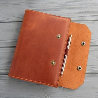 Кожаная обложка на ежедневник А5 _коричневая обложка для блокнота